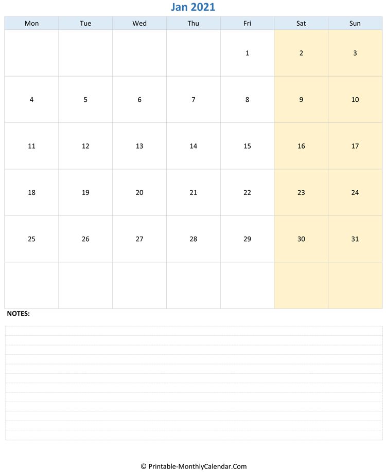 january 2021 editable calendar with notes (vertical layout)