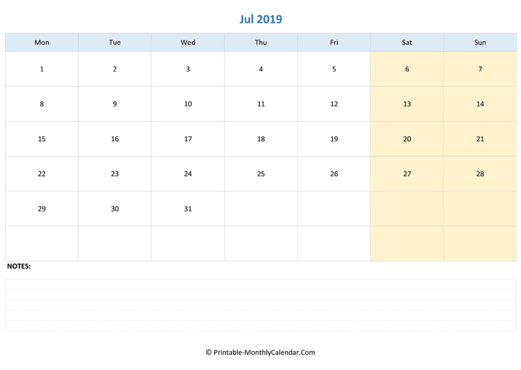 July 2019 Editable Calendar With Notes Landscape Layout