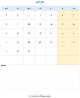 July 2019 Calendar (vertical)