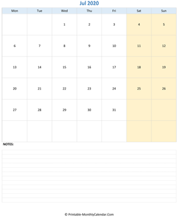 July 2020 Calendar (vertical)