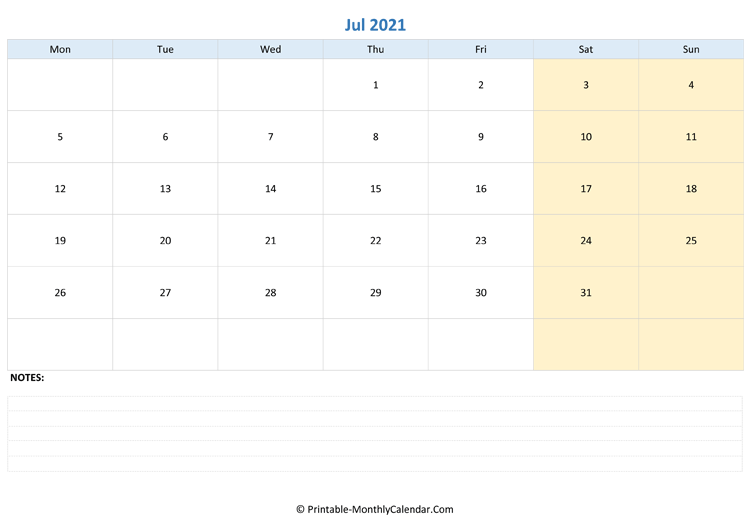 july 2021 editable calendar with notes (landscape layout)