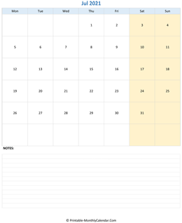 July 2021 Calendar (vertical)