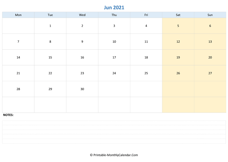 june 2021 editable calendar with notes (landscape layout)