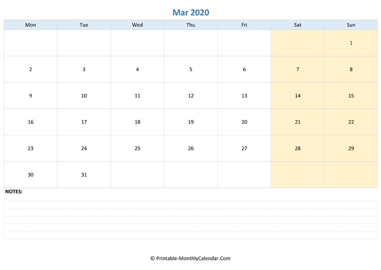 march 2020 editable calendar with notes (landscape layout)