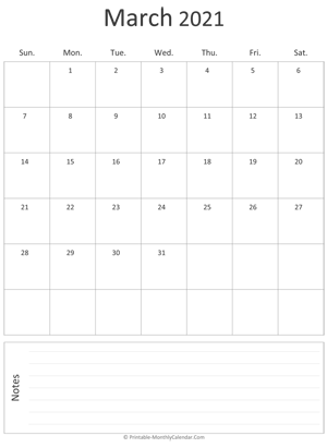 march 2021 printable calendar portrait