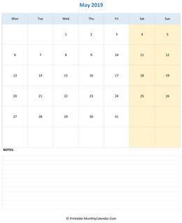 May 2019 Calendar (vertical)