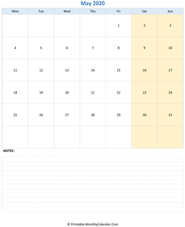 May 2020 Calendar (vertical)