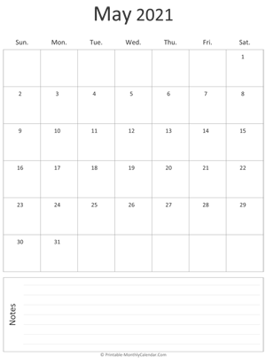 may 2021 printable calendar (portrait layout)