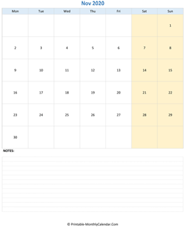 november 2020 editable calendar notes vertical
