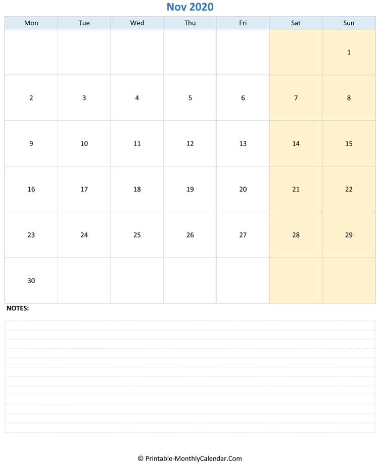 november 2020 editable calendar with notes (vertical layout)