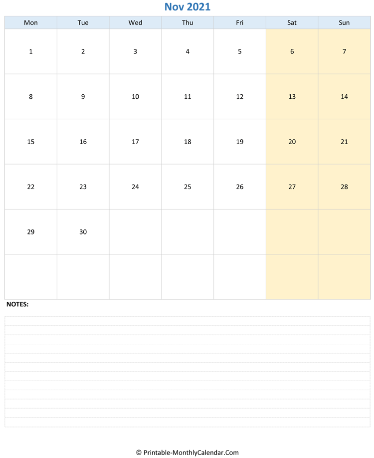 November 2021 Editable Calendar with Notes (Portrait Layout)