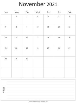 November 2021 Calendar Templates