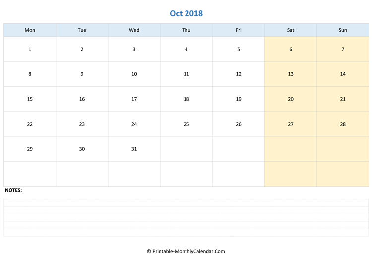 october 2018 editable calendar with notes landscape layout