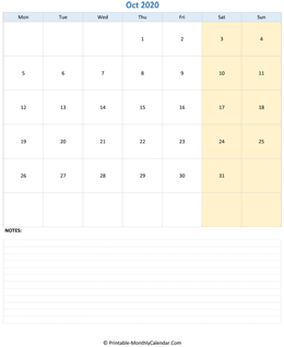October 2020 Calendar (vertical)