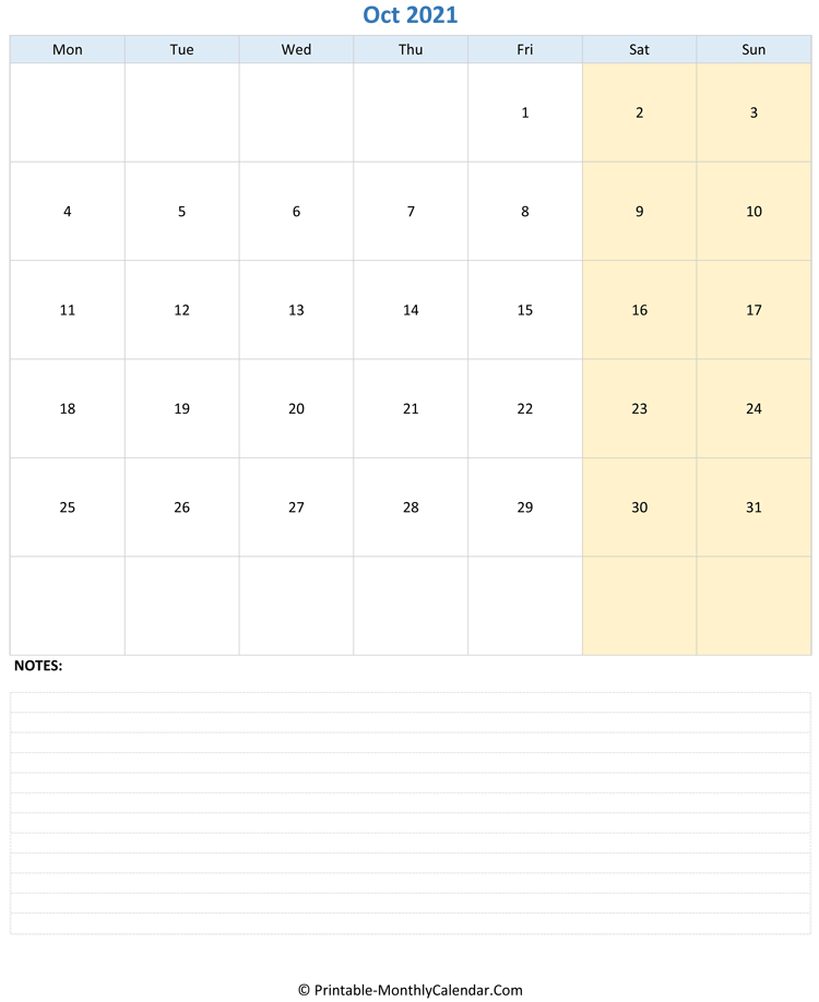 october 2021 editable calendar with notes (vertical layout)