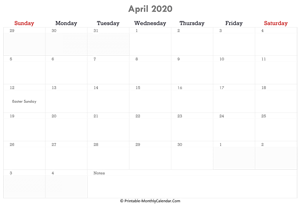 printable april calendar 2020 holidays notes horizontal