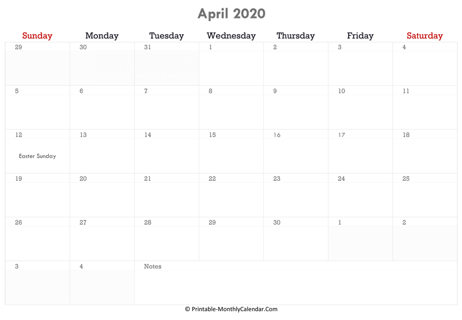 printable april calendar 2020 with holidays and notes horizontal layout