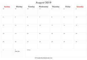 printable august calendar 2019 with holidays and notes (horizontal layout)