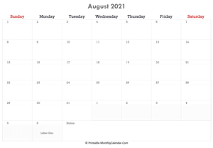 printable august calendar 2021 holidays notes horizontal