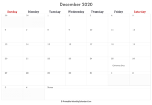 printable december calendar 2020 with holidays and notes (horizontal layout)