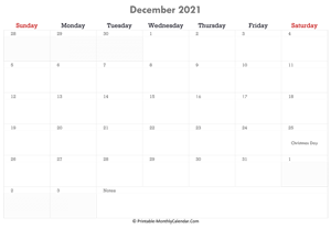 printable december calendar 2021 holidays notes horizontal