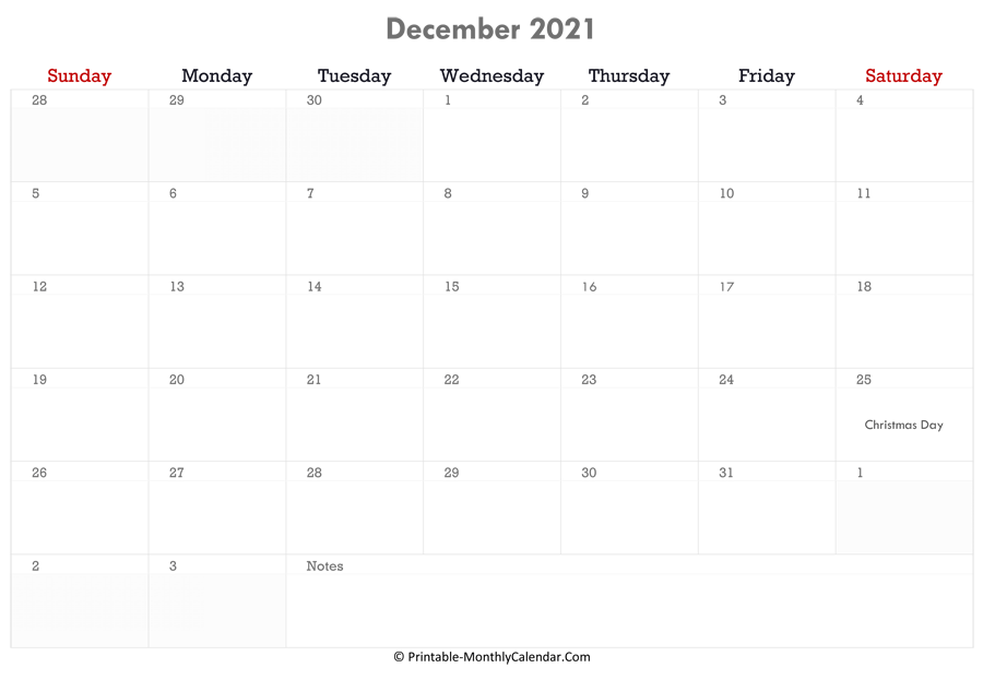 Printable December Calendar 2021 with Holidays and Notes ...