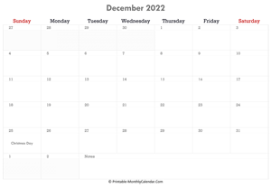 printable december calendar 2022 with holidays and notes (horizontal layout)