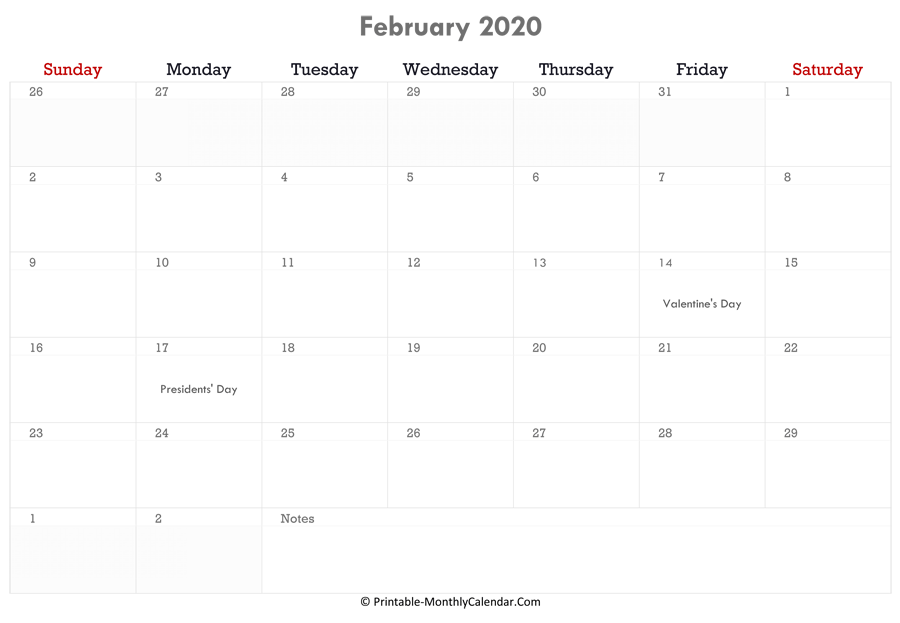 printable february calendar 2020 with holidays and notes horizontal layout
