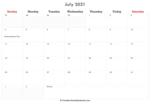 printable july calendar 2021 with holidays and notes (horizontal layout)