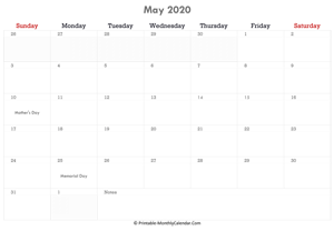 printable may calendar 2020 with holidays and notes (horizontal layout)