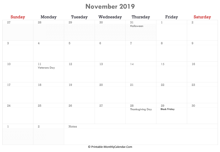 printable november calendar 2019 with holidays and notes horizontal layout