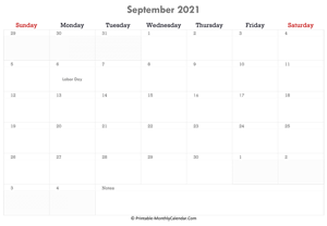 printable september calendar 2021 with holidays and notes (horizontal layout)