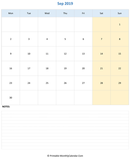 september 2019 editable calendar notes vertical